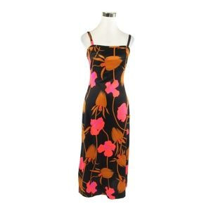 Black orange floral vintage maxi dress S